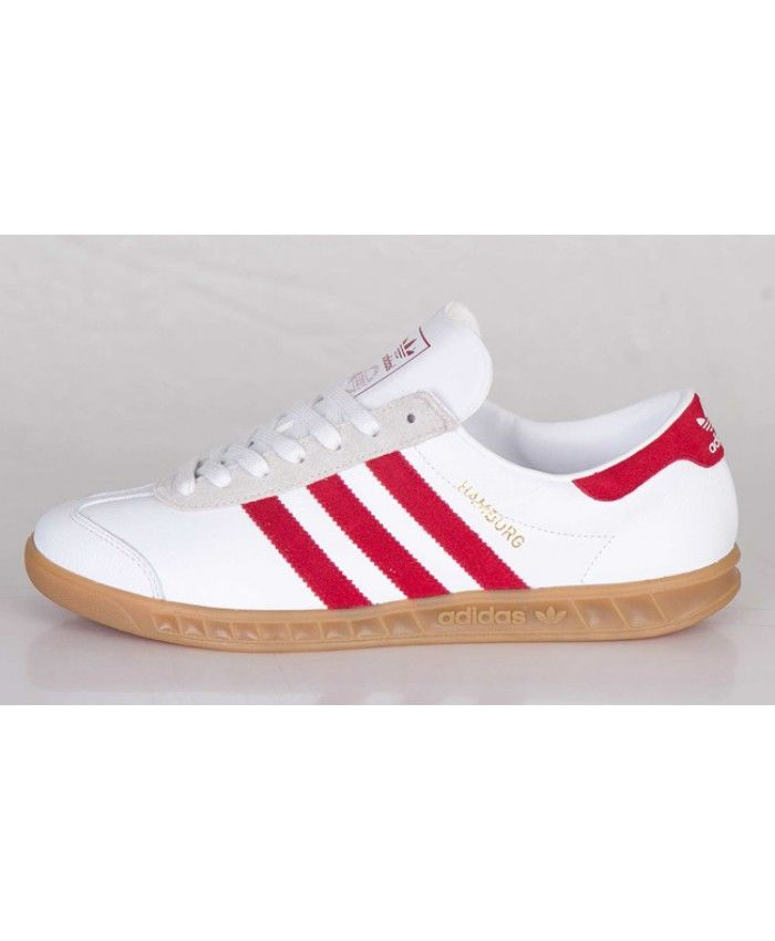the latest f652b 416f4 Adidas Hamburg White Red Trainers Sale