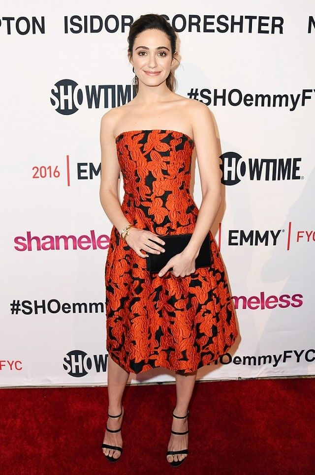 265fd40c3f Emmy Rossum looking radiant in black and red floral print.