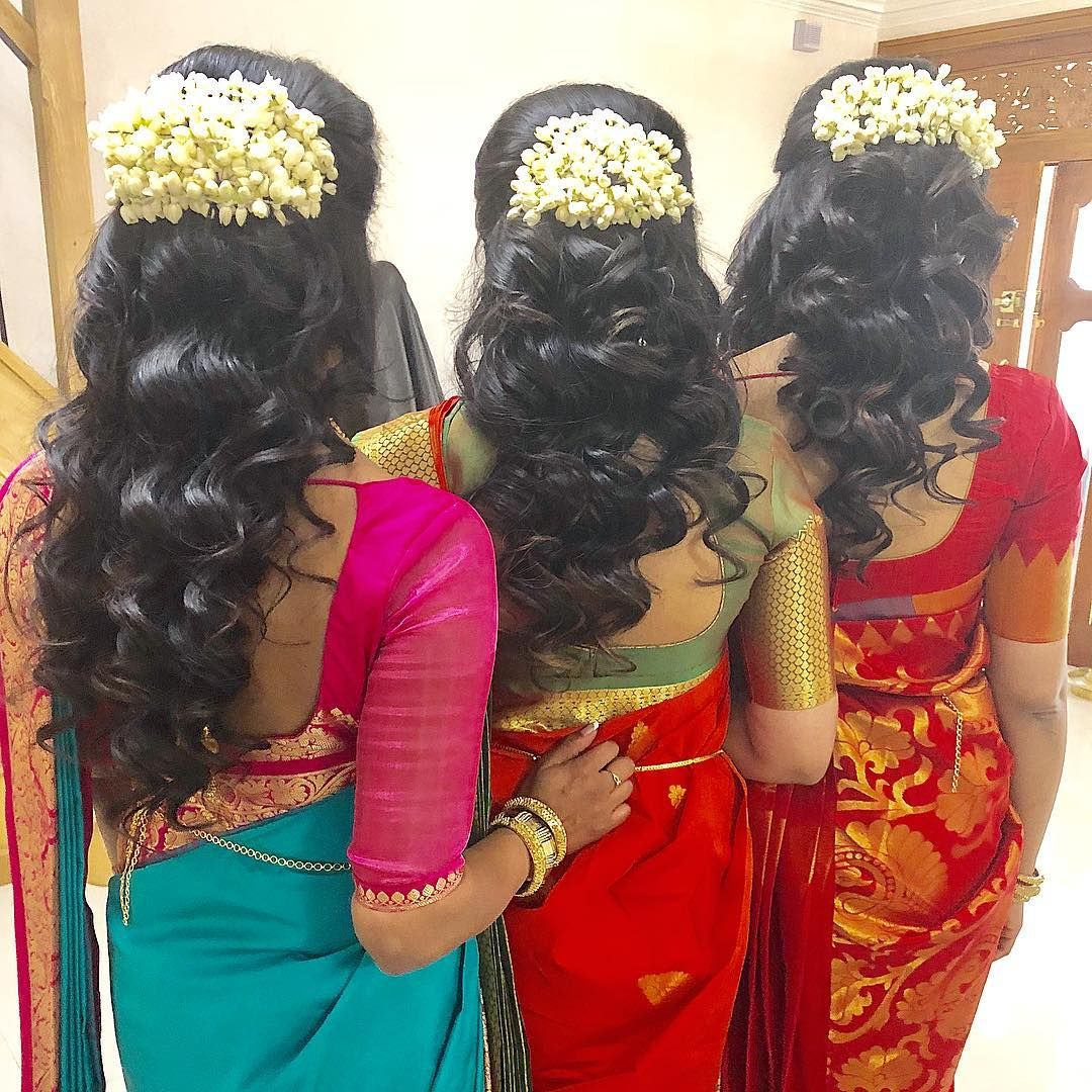 Curls And Jasmine Flowers My Favourite Hairstyle For Weddings Hair Hairstyle Curls Mua Traditiona Bridal Hair Buns Short Hair Styles Easy Flowers In Hair