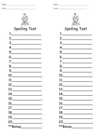 3rd grade site words test - Google Search Kids language arts - spelling test template
