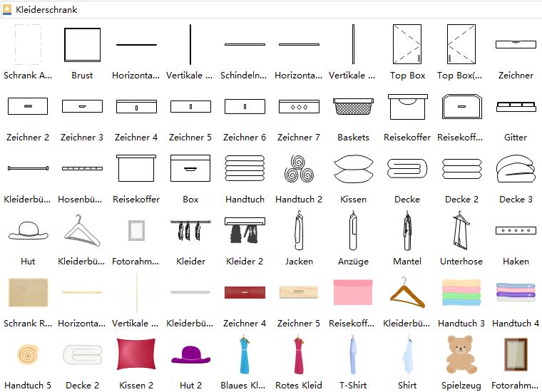 Symbole für Gestaltung der Schränke Perfekte garderobe