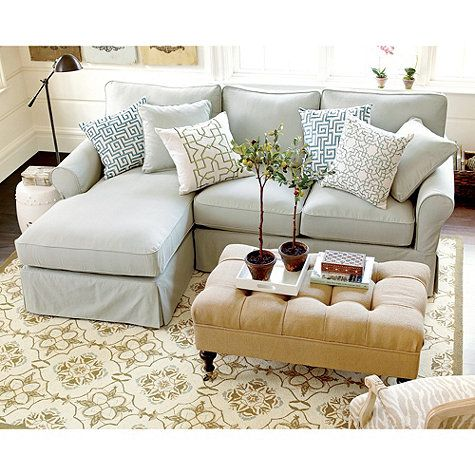 Baldwin sectional slipcover left arm chaise right arm for Small slipcovered sectional sofa