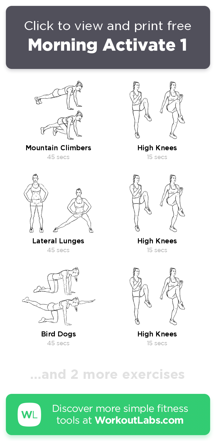 Morning Activate 1 free 5min abs, back, legs workout