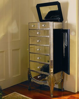 Claudia Mirrored Jewelry Armoire   Horchow