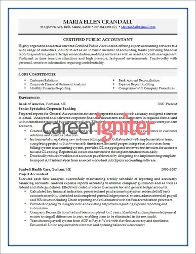 Accounting Resume Sample Resume Pinterest Sample resume - resume sample for accountant