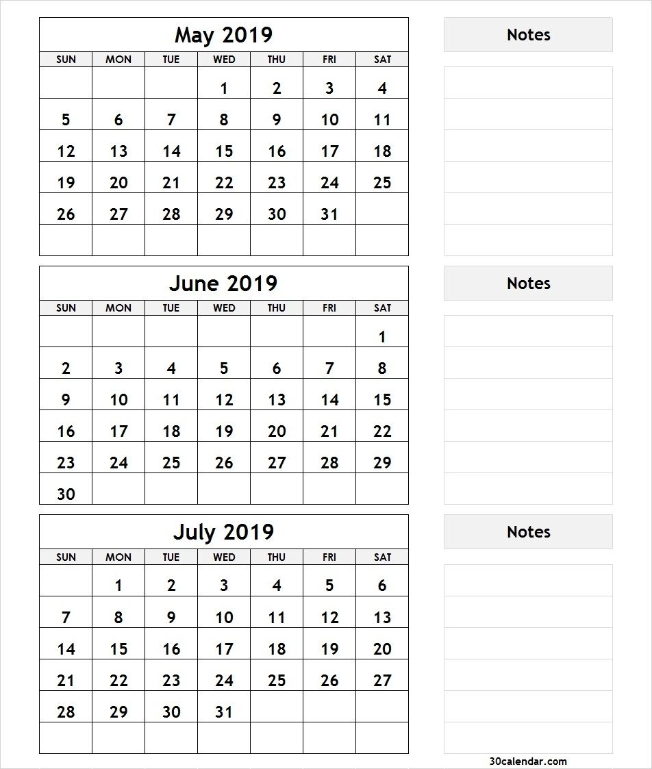 Take 3 Month Calendar 2019 May June July Calendar Printables