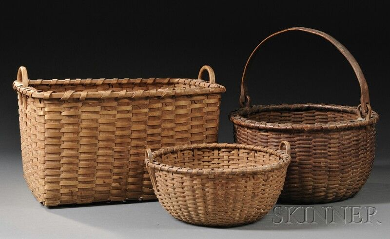 Woven Splint Gathering Baskets, America, 19th century