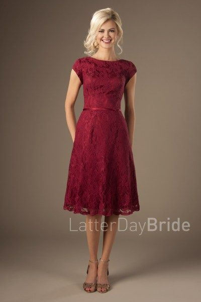 53c9470e7e82 modest bridesmaid dresses with bateau neckline and lace, knee length Betty  at LatterDayBride