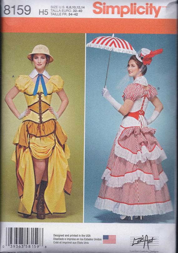 fc69e311295 Simplicity 8159 Misses Victorian Steampunk Costume Skirt Blouse Bustle  Corset UNCUT Sewing Pattern