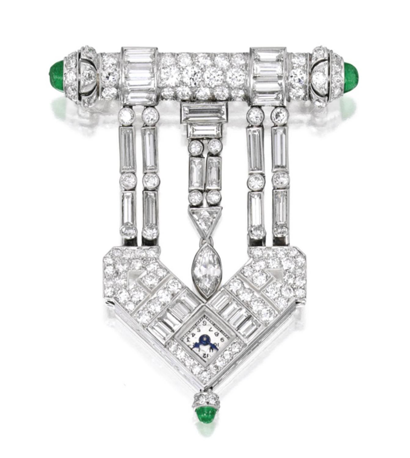 Platinum, Diamond and Emerald Lapel-Watch. Flexible lapel-watch of geometric design, set with baguette, triangle, marquise-shaped and old European-cut diamonds, accented by cabochon emeralds, the movement signed Niton Geneve, numbered 5355; circa 1920. Sold Sept 2015 for $20,000 at Sotheby's.