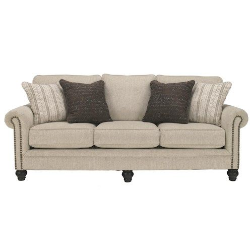 Signature Design By Ashley Milari Linen Transitional Queen Sofa Sleeper With Rolled Arms Nail