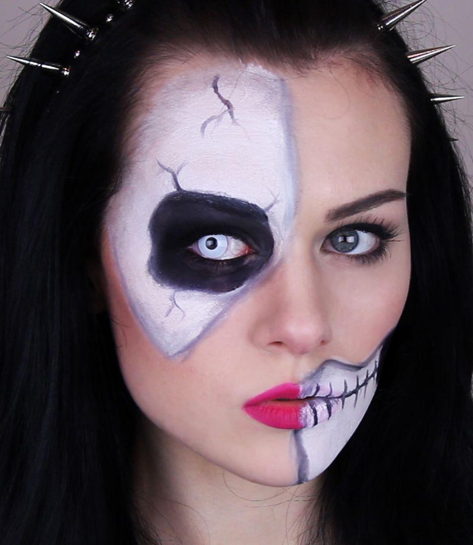 skeleton, half skull makeup tutorial for halloween - easy and quick