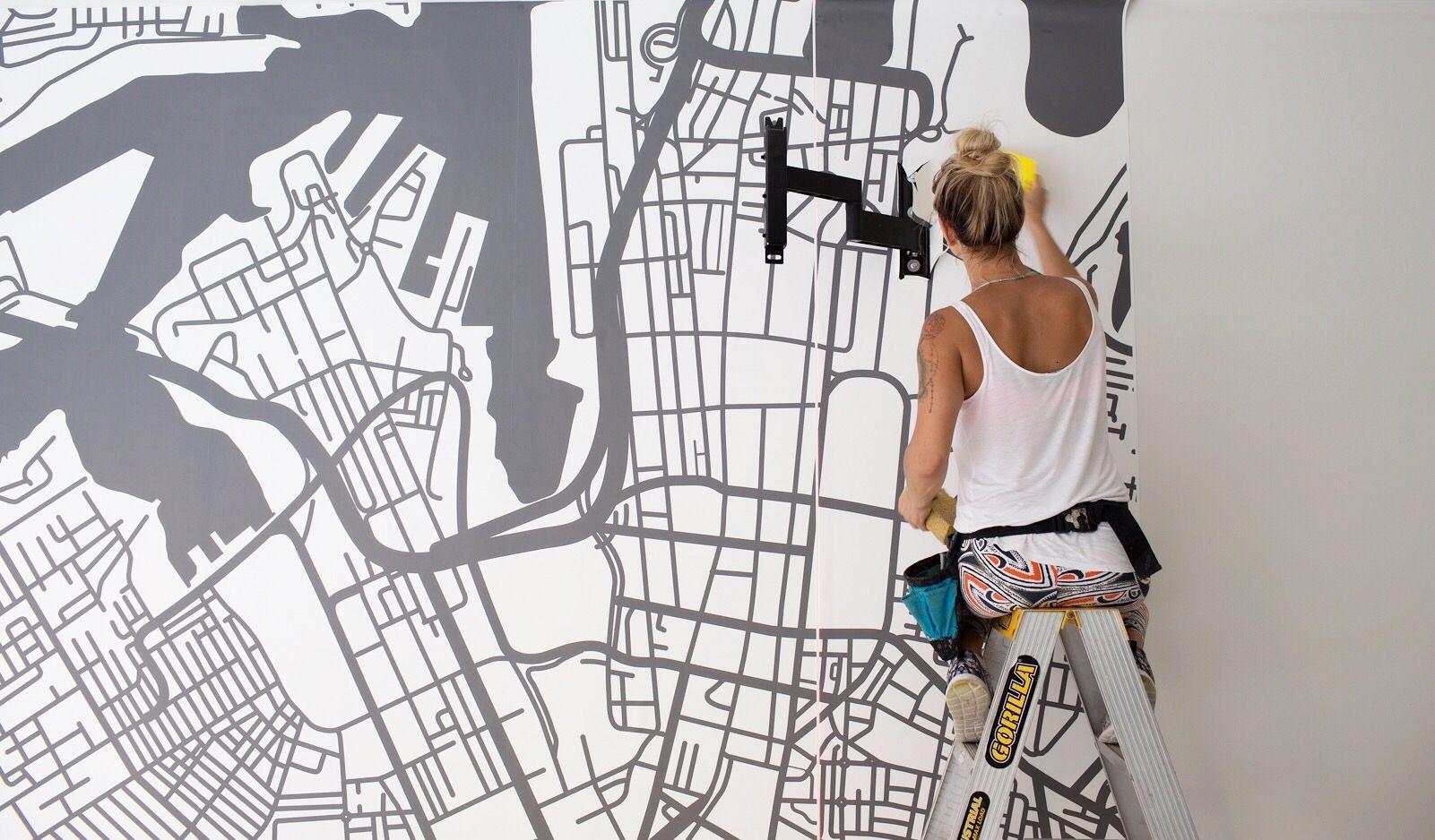 Wall art inspiration sydney map line art as custom wallpaper