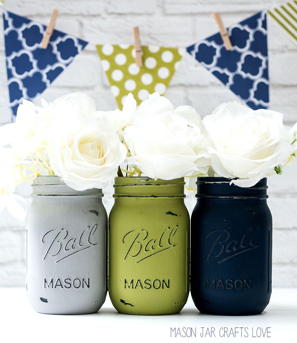 Blue, Green, Gray Mason Jar Wedding Vases | Mason jar weddings ...
