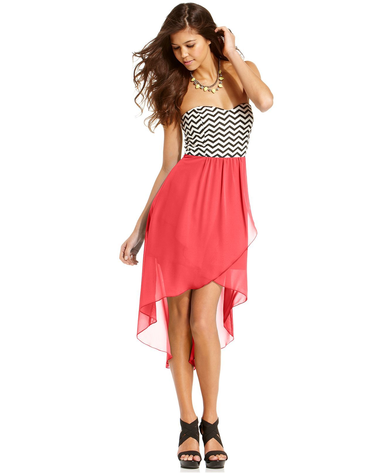 Trixxi Juniors Dress, Strapless Zigzag-Print High-Low - Juniors ...