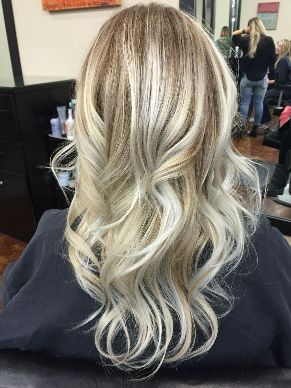 Silver highlights blended with platinum blonde color hair and new ...