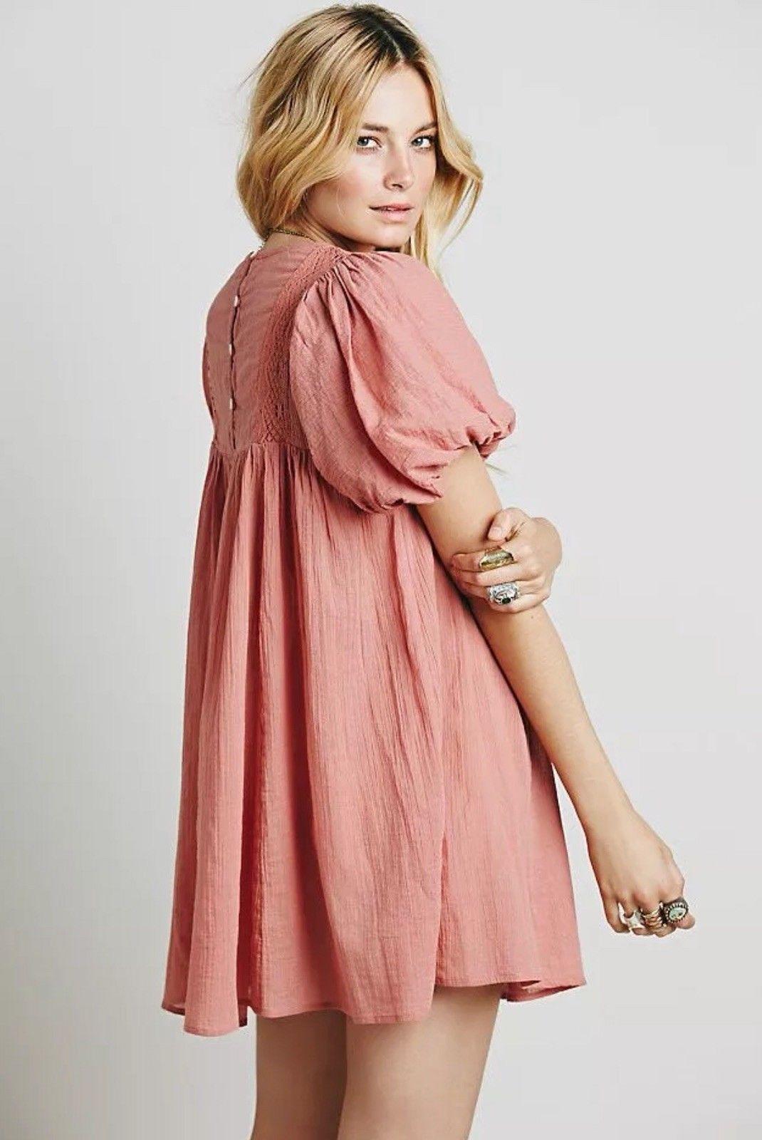 NEW Free People Womens Arosa Wild Rose Tie Knot Cotton Mini Dress ...