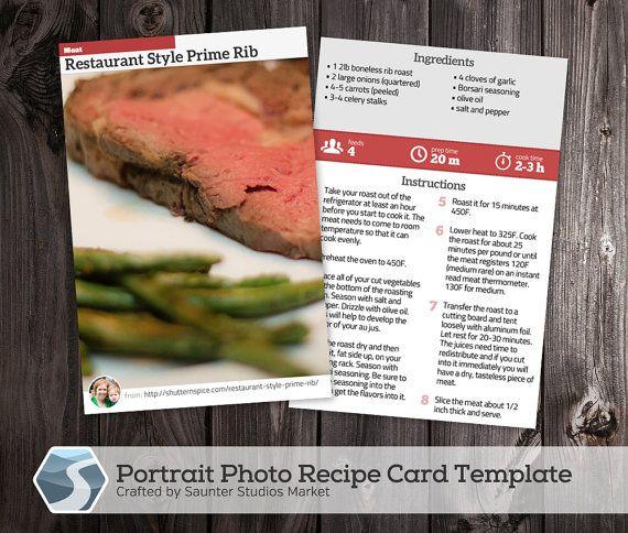 Portrait Photo Recipe Card 4x6 Printable Photoshop Template Etsy Recipe Cards Printed Recipe Cards Recipe Cards Template