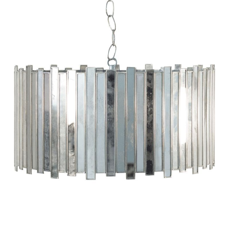 Information Worlds Away Faceted Antique Mirror Chandelier Pendant Features The