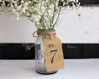 centerpiece inspiration - mason jar with burlap tag and baby's breath