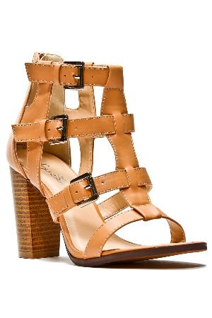 50% off better 2018 shoes SERGIO BARI Ava Strappy Stacked Heel Sandals in Beige ...