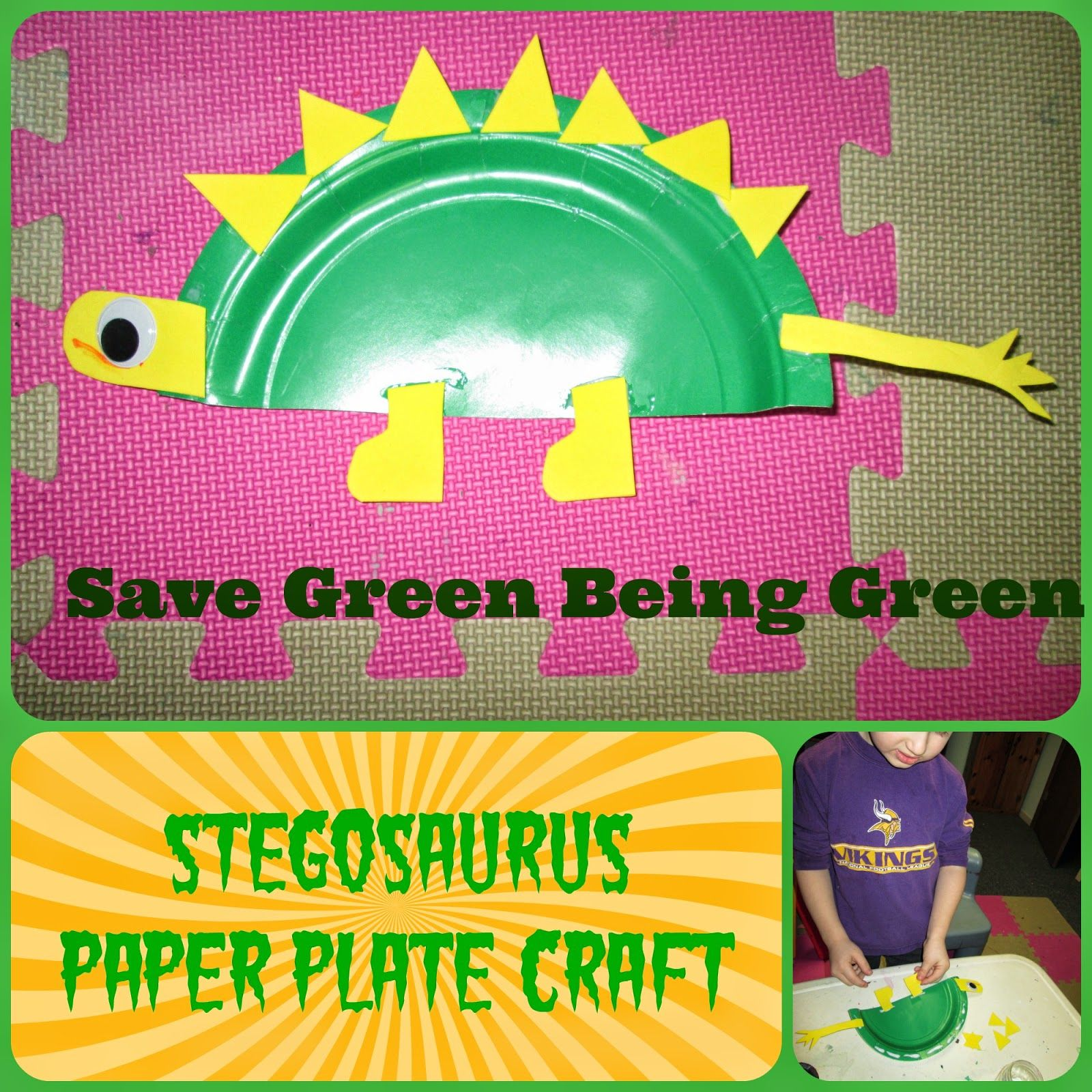 Save Green Being Green Stegosaurus Paper Plate Craft | My Stuff | Pinterest | Paper plate crafts and Activities  sc 1 st  Pinterest : stegosaurus paper plate craft - pezcame.com