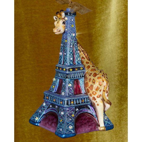 Jay Strongwater Eiffel Tower  Giraffe Christmas Ornament ($190