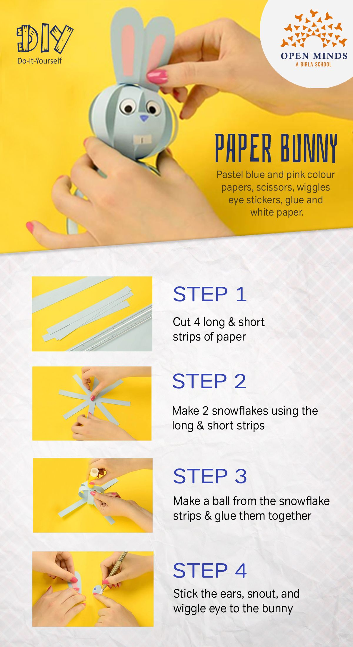 A fun way to use colour paper this paper bunny craft is cute and