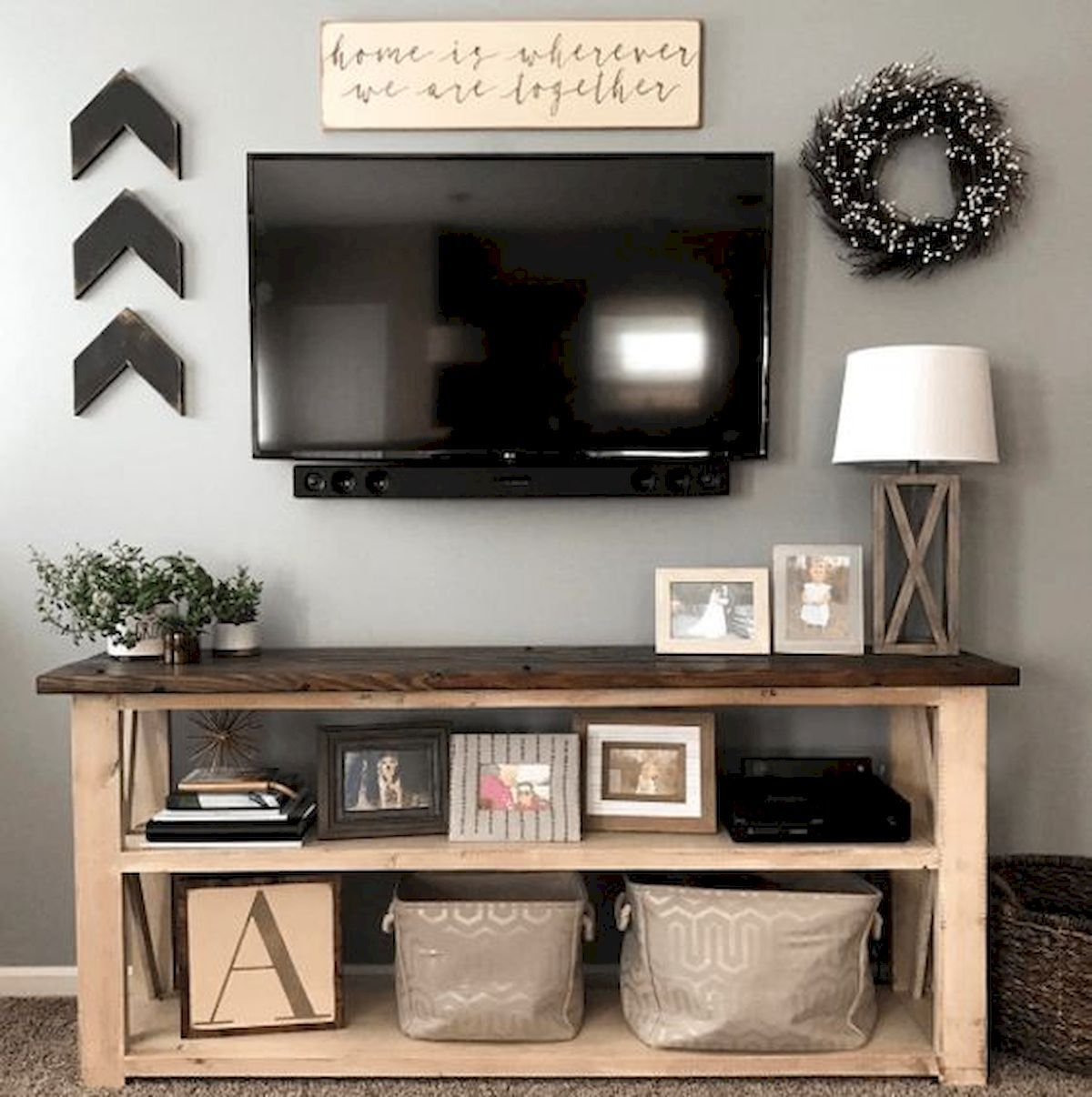 Pin By Ashlyn Hill On For The Home Farmhouse Console Table Farm House Living Room Living Room Tv Stand