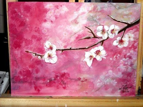 Tanja bell how to paint cherry blossom tree painting for Canvas painting of cherry blossoms