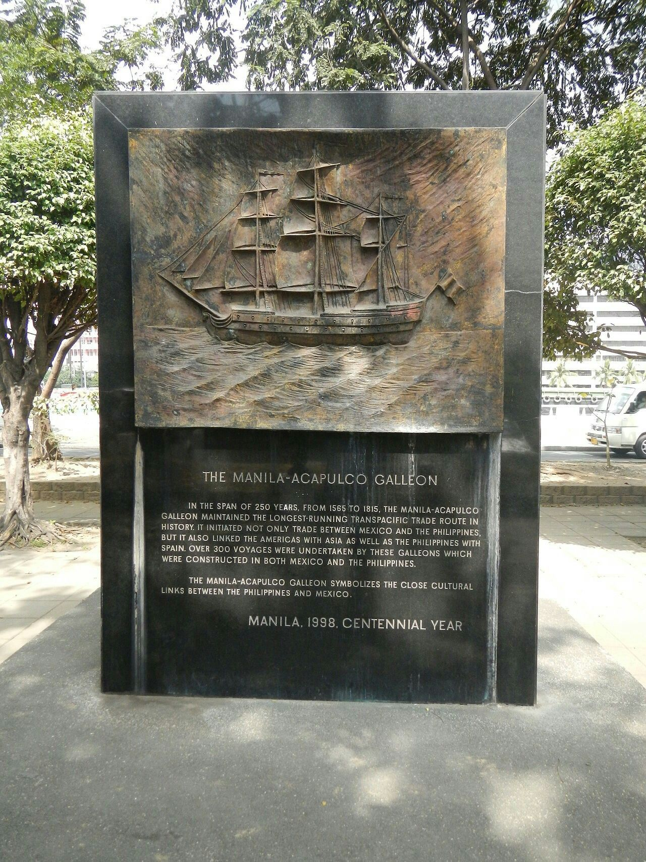 Map Acapulco Mexico%0A The ManilaAcapulco Galleon Memorial at Plaza Mexico in Intramuros  Manila