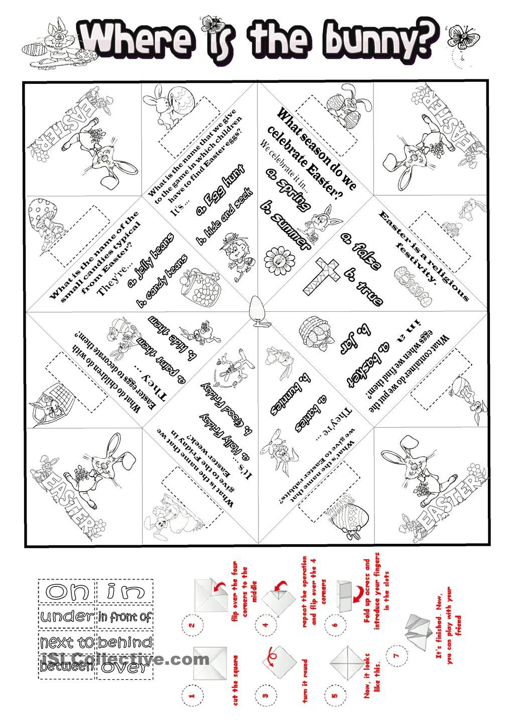 Cootie Catcher Easter with Prepositions. ESL worksheet of the day ...