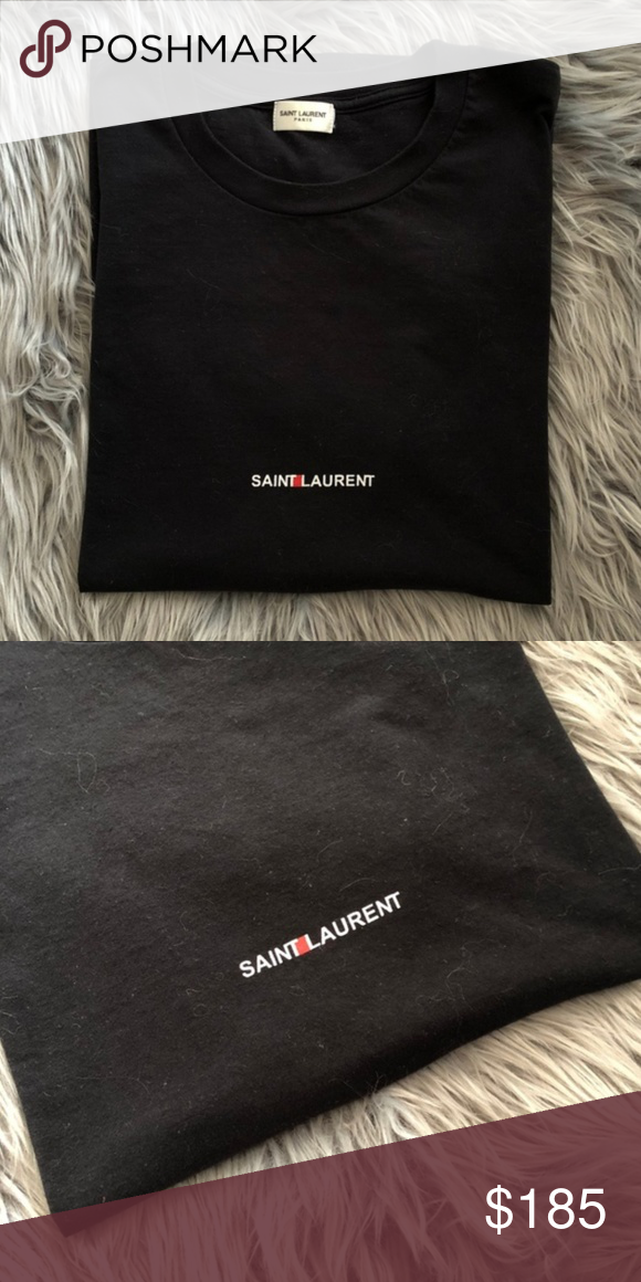 61465f440 Saint Laurent Small Box Logo Black Shirt YSL SLP Size: Medium for Men,  Unisex