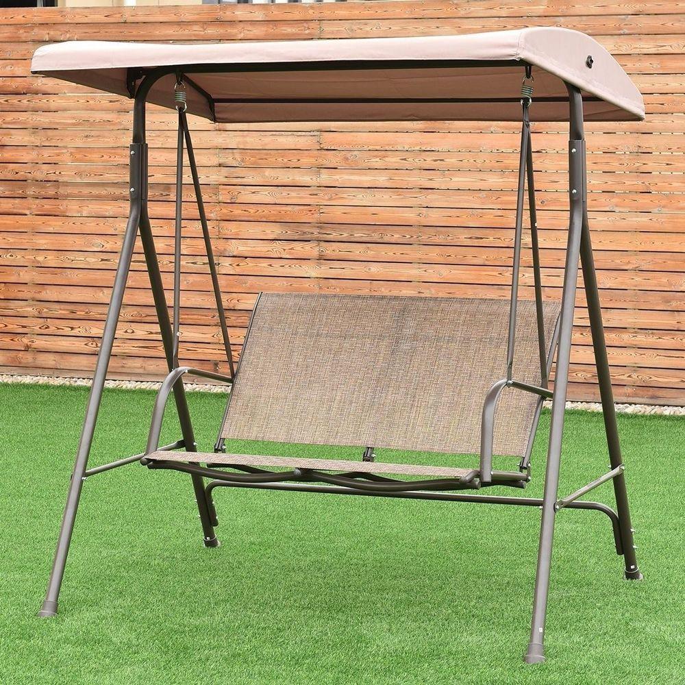 Outdoor furniture swing canopy person patio swing beige backyard