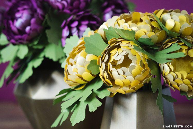 metallic paper chrysanthemums