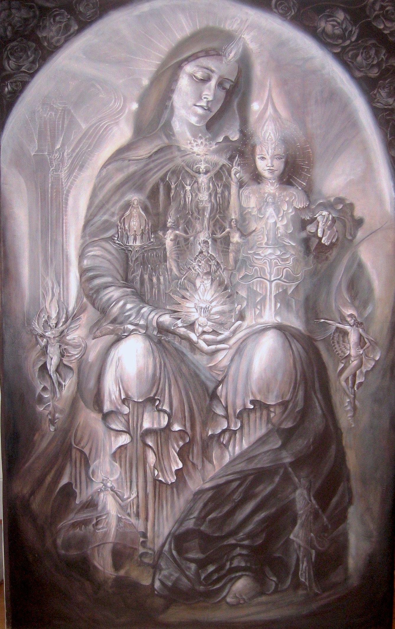 'Divine Mother' Kuba Ambrose - oil & egg tempera on canvas #visionaryart #sacredart