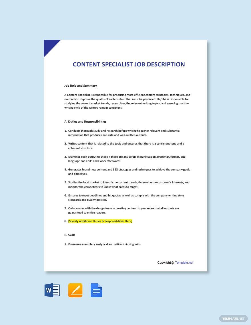 Free Content Specialist Job Description Job Description Web