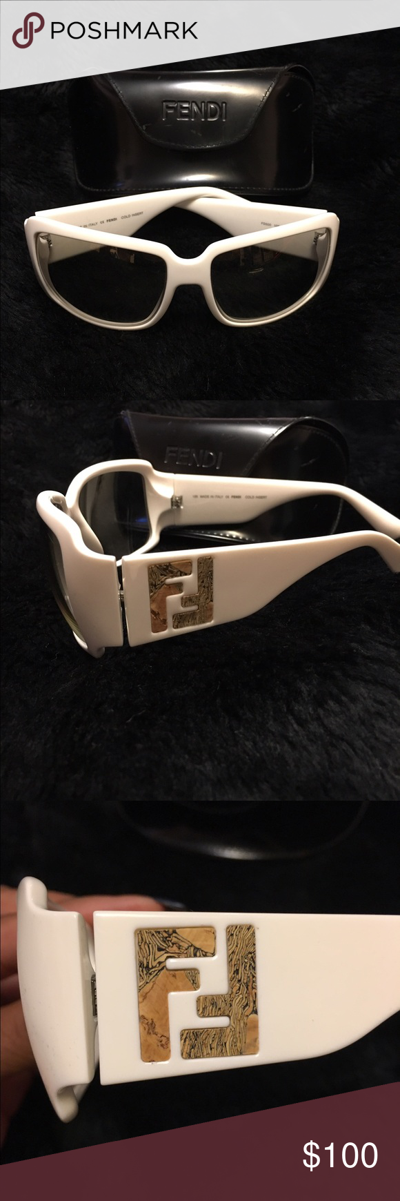 GENUINE Fendi Sunglasses White Fendi Cork Logo Sunglasses Fendi Accessories Glasses
