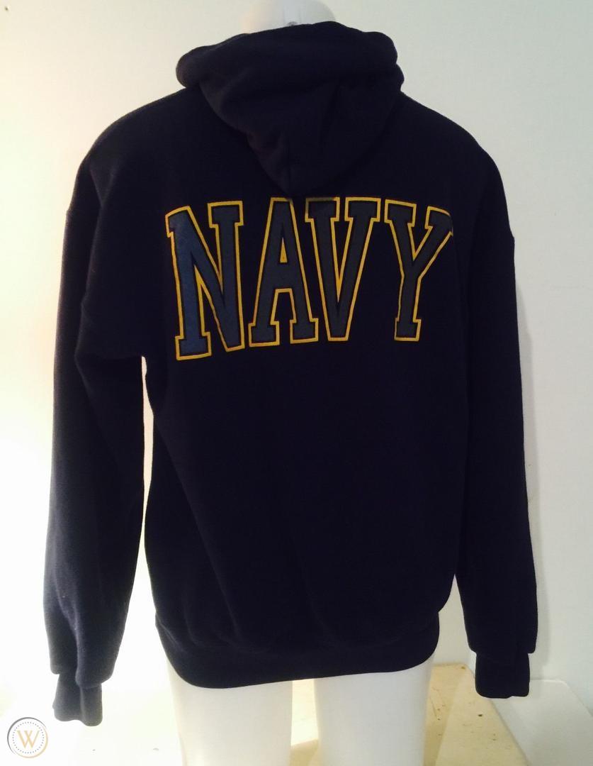 Soffe Usn Us Navy Blue With Reflective Logo Zip Up Hoodie Hoodies Navy Hoodie Soffe [ 1080 x 837 Pixel ]