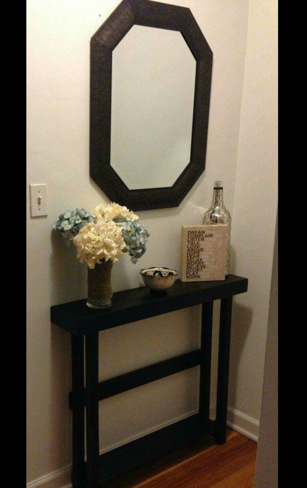 skinny hallway table. I Love How Skinny This Table Is. Our Entry Way Needs A Super Since Door Would Hit It Otherwise Hallway