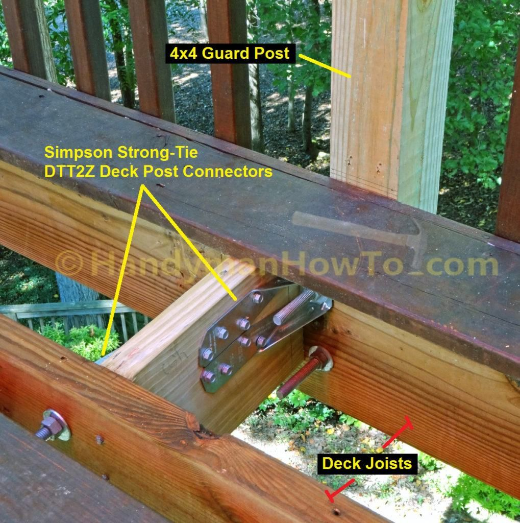Build Deck Rail 4x4 Guard Post With Band Joist Blocking For