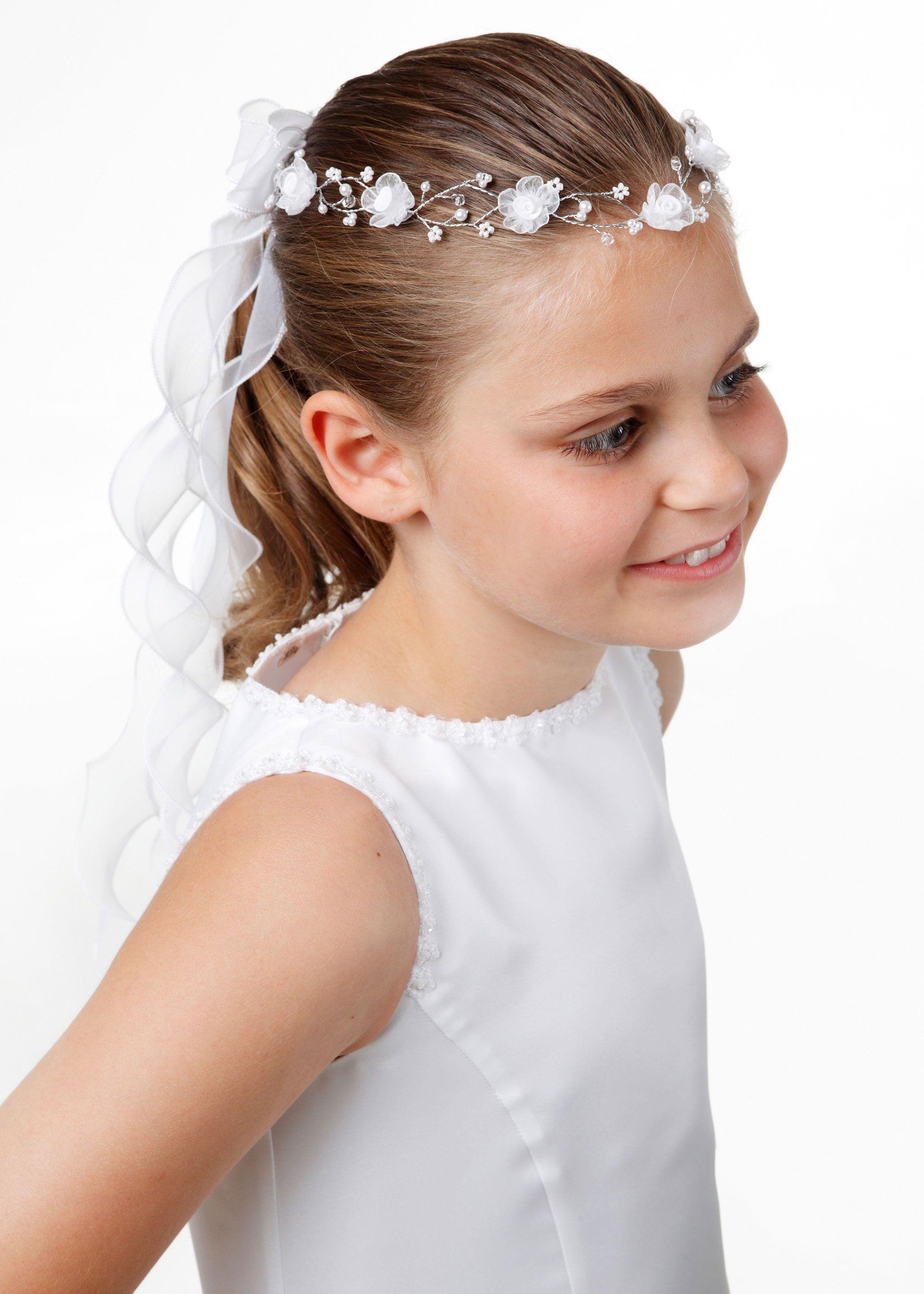Kinderkommunion - Stirnkranz mit Organzaband - weiß