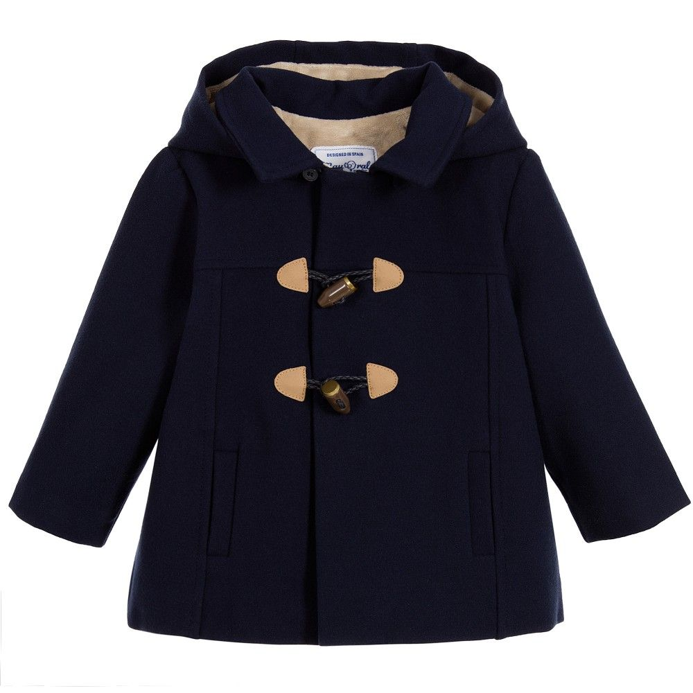 Mayoral Newborn - Navy Blue Baby Duffle Coat | Childrensalon ...