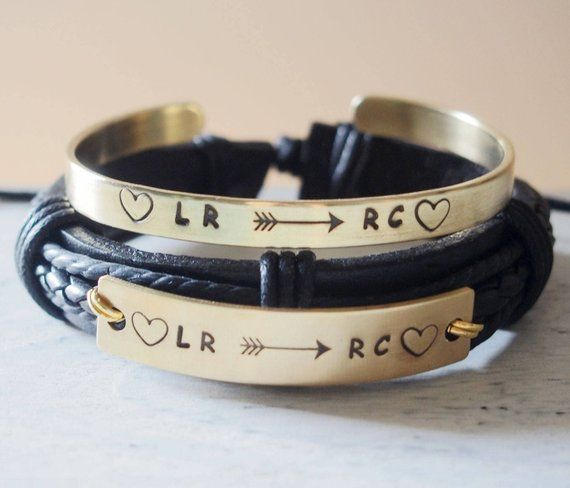 c0720341644 Personalized Couple Bracelets leather
