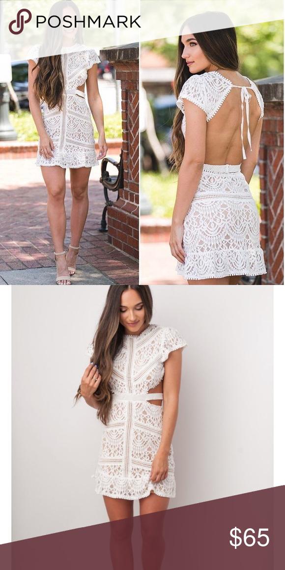 White Lace Open Back Mini Dress