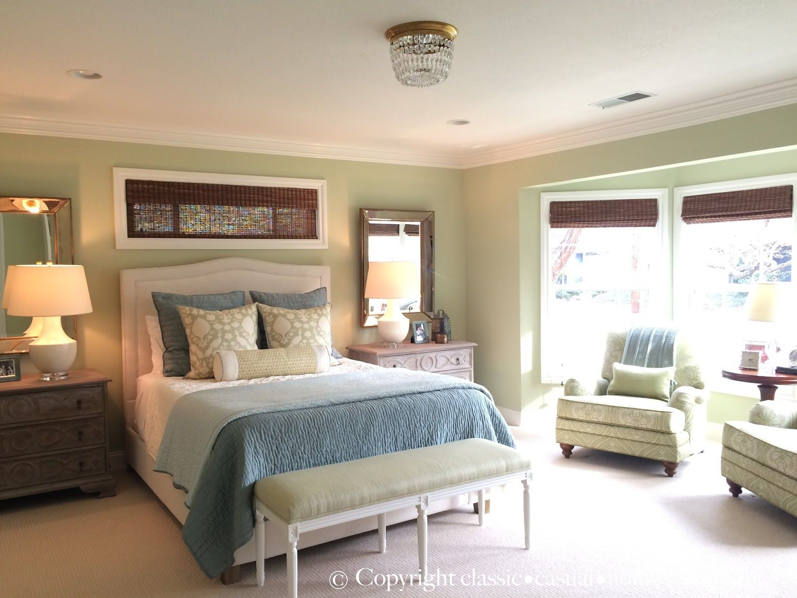 Soft Green and Aqua Blue Master Bedroom Before and After  Blue
