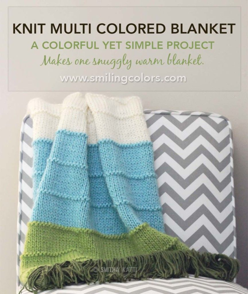 This Knit Multi Colored Blanket is a simple yet beautiful pattern ...