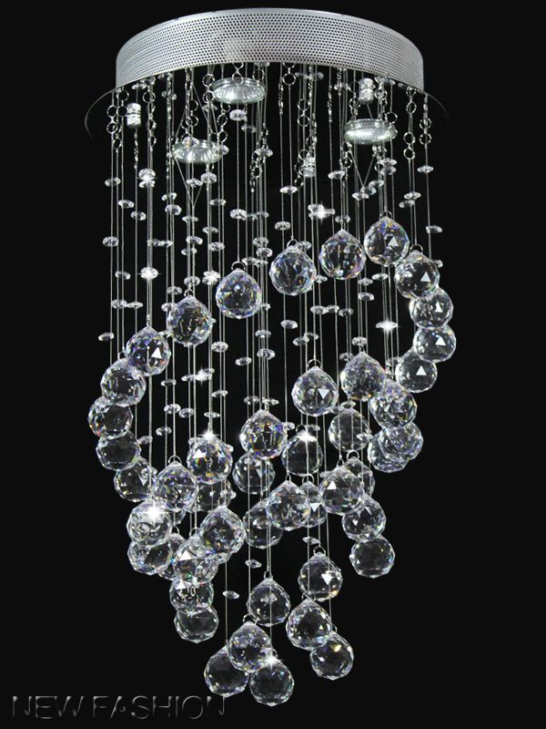 Modern Annularity Clear Crystal Droplet Ceiling Light Pendant Lamp Chandelier