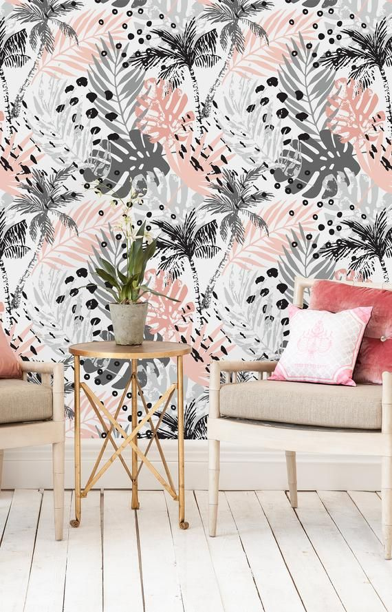 Removable Wallpaper Peel And Stick Wallpaper Self Adhesive Wallpaper Gray And Pink Palm Leaves Removable Wallpaper Tropical Bedroom Decor Grey And White Wallpaper