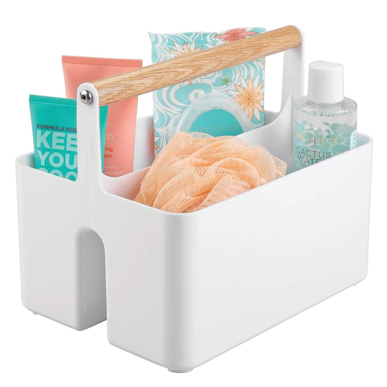 mDesign Caja organizadora para cuarto de ba/ño Pr/áctica cesta con asa para el almacenamiento de cosm/éticos Organizador de ba/ño port/átil con 4 compartimentos verde menta//plateado mate